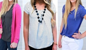 Perfect Polka Dot Pleated Top only $14.99 (Regular $29.99)!