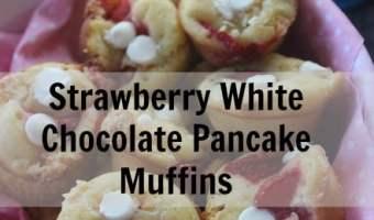 Strawberry White Chocolate Pancake Muffins #Breakfast