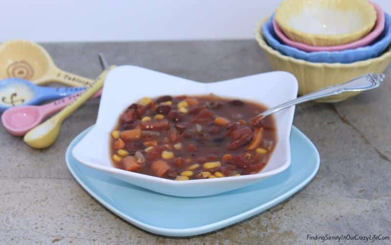 Slow Cooker Vegetarian Black Bean Soup #EasyDinners