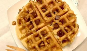 Peanut Butter Chocolate Chip Waffles #EasterSweetsandTreats