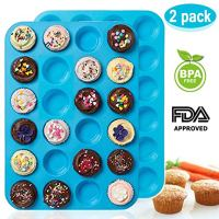 Mini Muffin Pan 24 Cups, Amison 2 Packs Silicone Cookies Cupcake Bakeware Tin Soap Tray Mould Non stick, BPA-free, Dishwasher Safe (Blue)