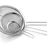 Fine Mesh Stainless Steel Strainer Set of 3 - Large, Medium & Small Size - Ideal to Strain Pasta Noodles, Quinoa, Cocktails, Tea, Sift & Sieve Flour & Powdered Sugar - Free EBook