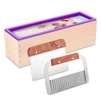 ZYTJ Silicone soap molds kit kit-42 oz Flexible Rectangular Loaf Comes with Wood Box,Stainless Steel Wavy & Straight Scraper for CP and MP Making Supplies