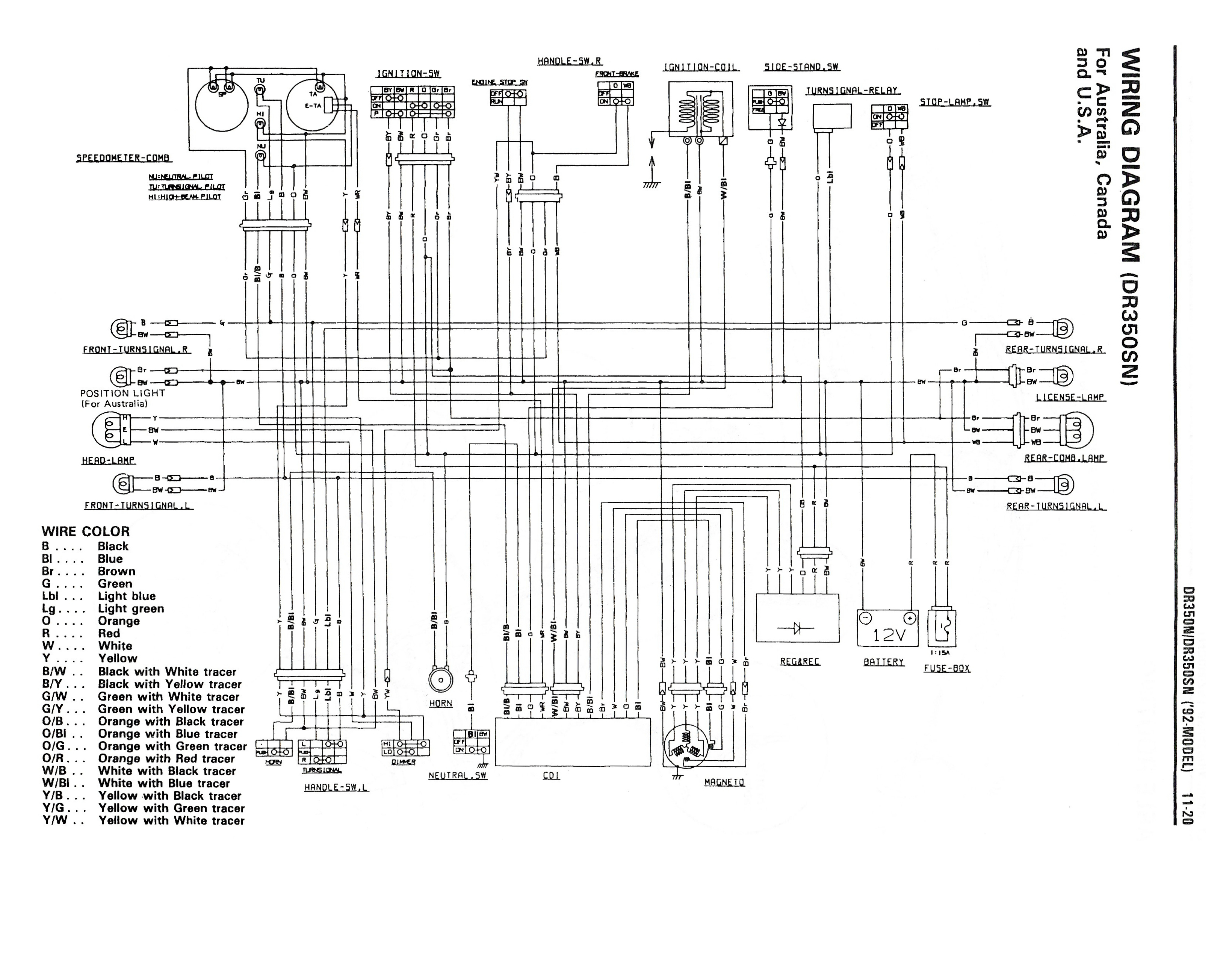Wiring Diagram For The Dr350 S And Later Models