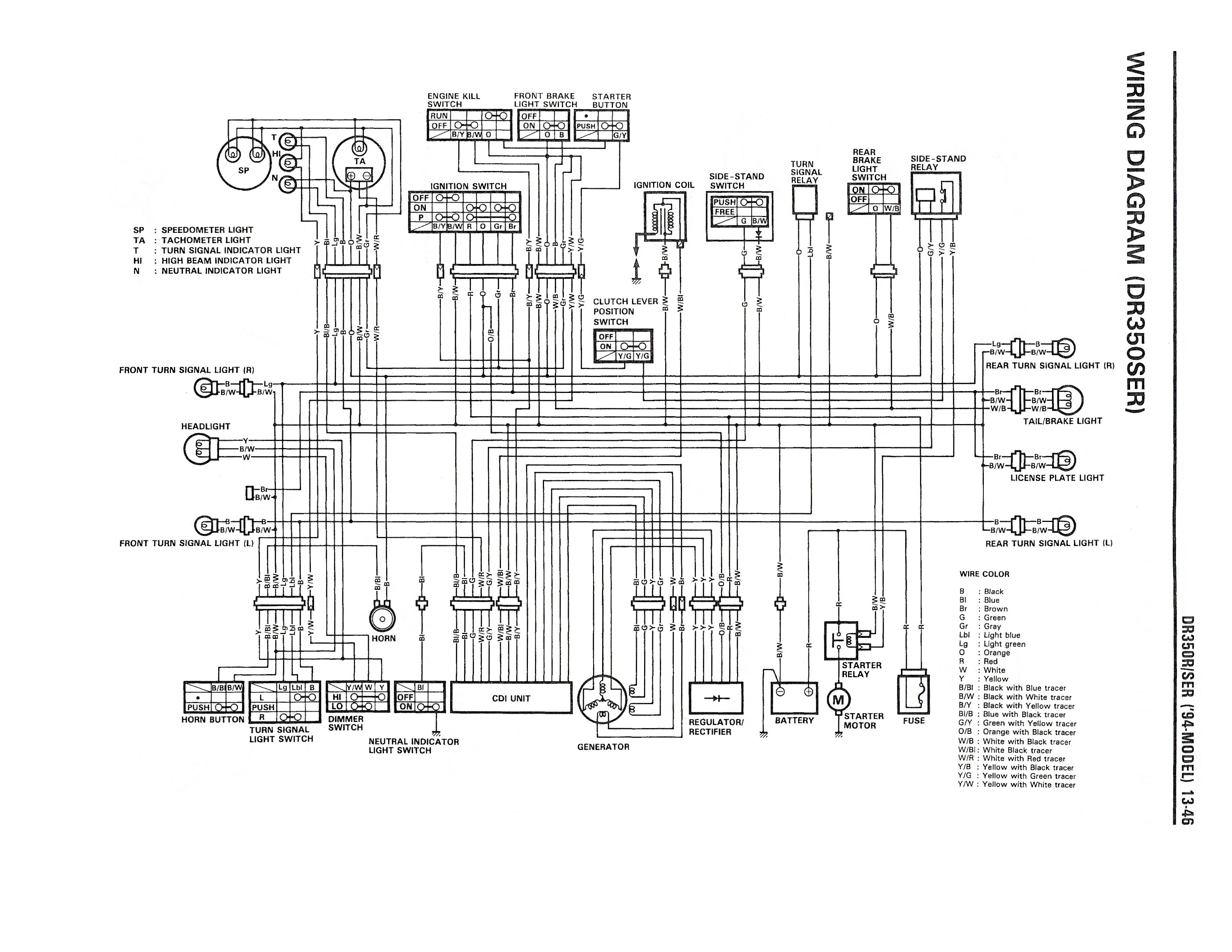 Wiring Diagram For The Dr350 Se And Later Models