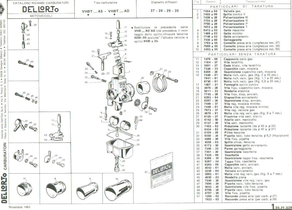 Parts Diagram For Dellorto Vhbt Carburetors