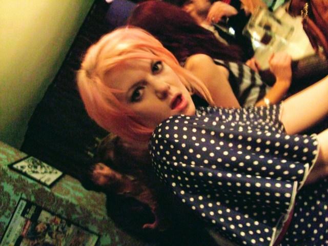 pink hair blue polka dot dress