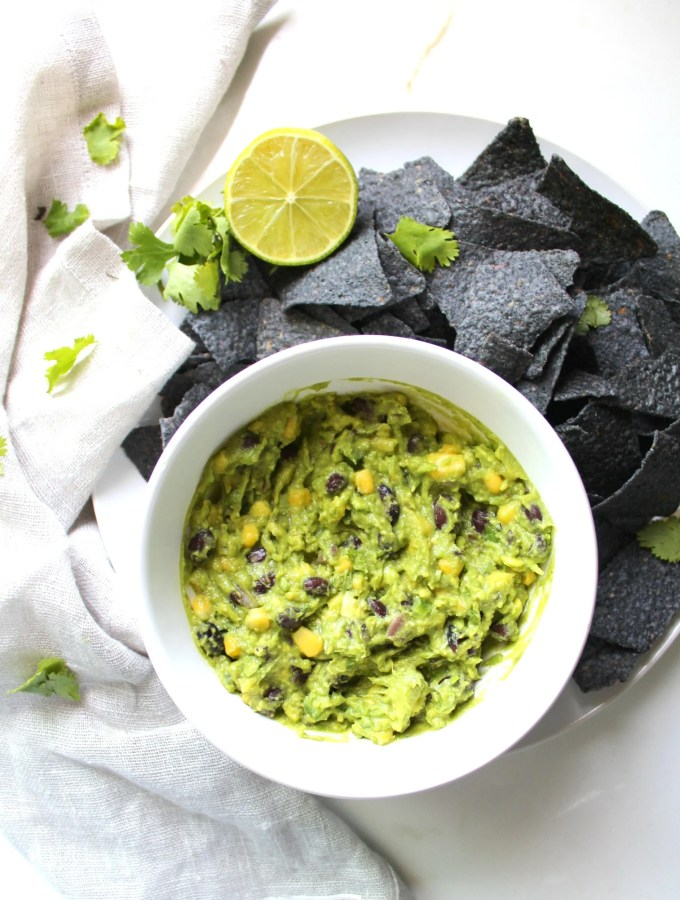 This Black Bean + Corn Guacamole is hearty and healthy | VEGAN + GF | ThisSavoryVegan.com