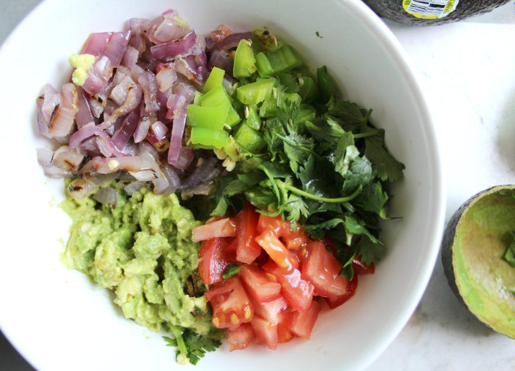 This Grilled Veggie Guacamole combines charred veggies with fresh avocado - perfect combo! | VEGAN + GF | ThisSavoryVegan.com