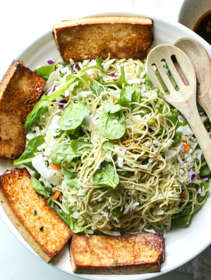 This Marinated Tofu & Edamame Spaghetti Salad is perfect for meal prep! | VEGAN + GF | ThisSavoryVegan.com
