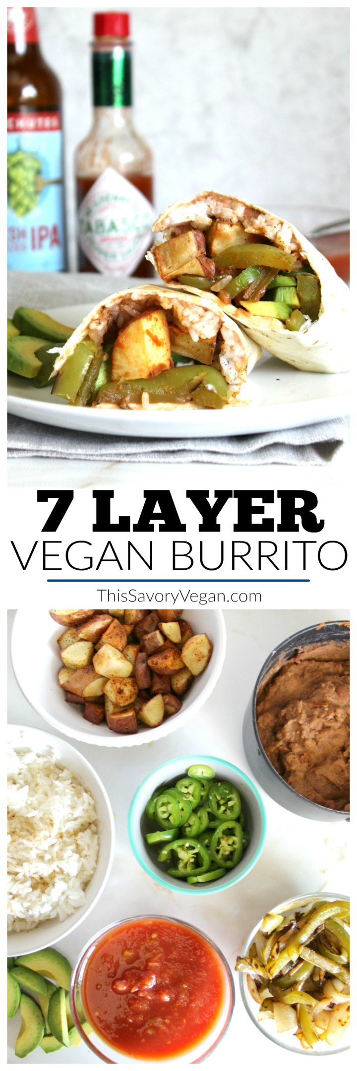 This 7 Layer Vegan Burrito is filling, tasty and healthy. Better than anything you will get at Taco Bell | ThisSavoryVegan.com