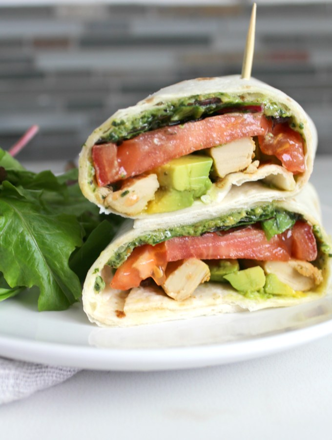 This Vegan Chick'n Pesto Wrap is just as good as any wrap you could get at a restaurant. Simple lunch or dinner! | ThisSavoryVegan.com