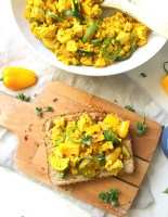 "This Tofu Veggie Scramble is the perfect healthy breakfast - veggies are sautéed with protein packed tofu and the ""miracle"" seasoning turmeric 