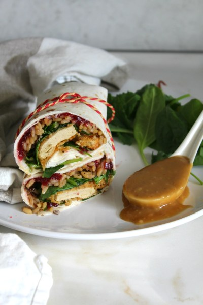 Enjoy holiday meal flavors any time with these Vegan Thanksgiving Leftover Wraps | ThisSavoryVegan.com