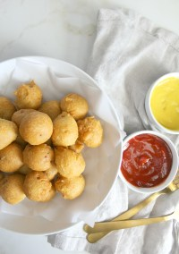 Get ready for game day with these Vegan Corn Dog Bites | Vegan Super Bowl Party Snacks | ThisSavoryVegan.com