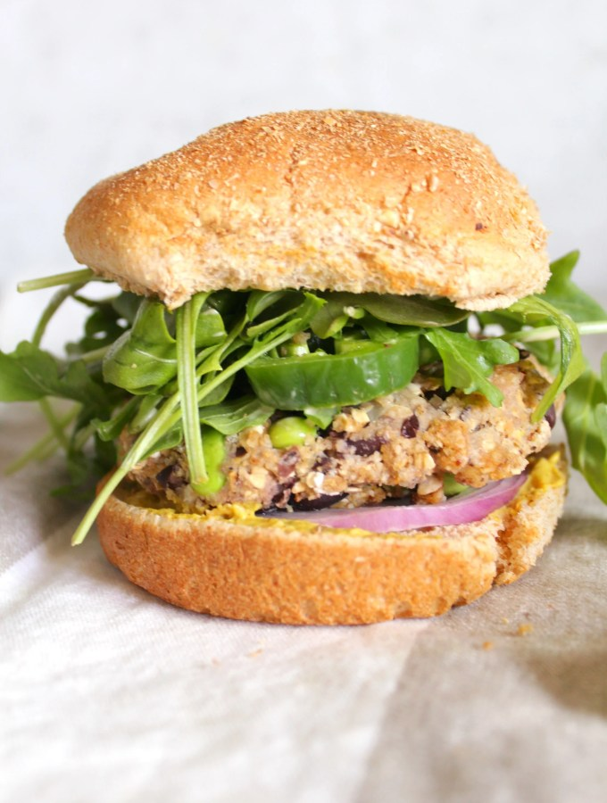 Edamame Black Bean Burgers with Vegan Soy Mayo   ThisSavoryVegan.com