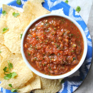 Get ready for the Super Bowl with this Spicy Habanero Salsa. Perfect game day snack! | ThisSavoryVegan.com