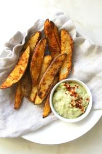 Potato Wedges with Vegan Avocado Dip   ThisSavoryVegan.com