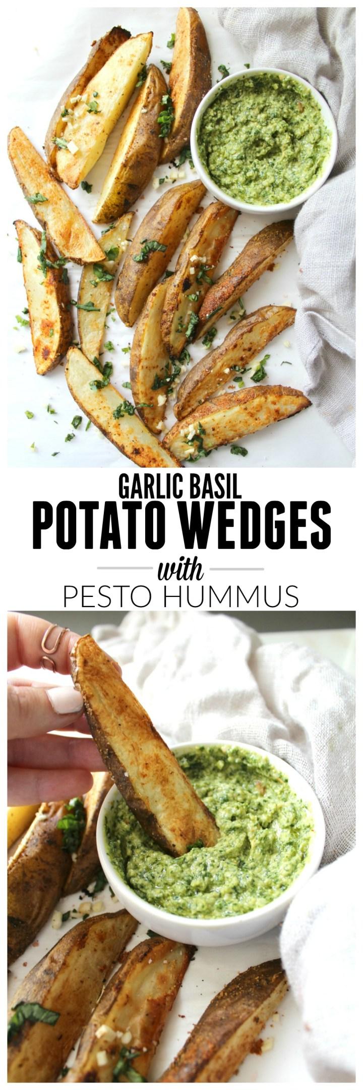 Potato Wedges with Pesto Hummus   VEGAN + GF  ThisSavoryVegan.com