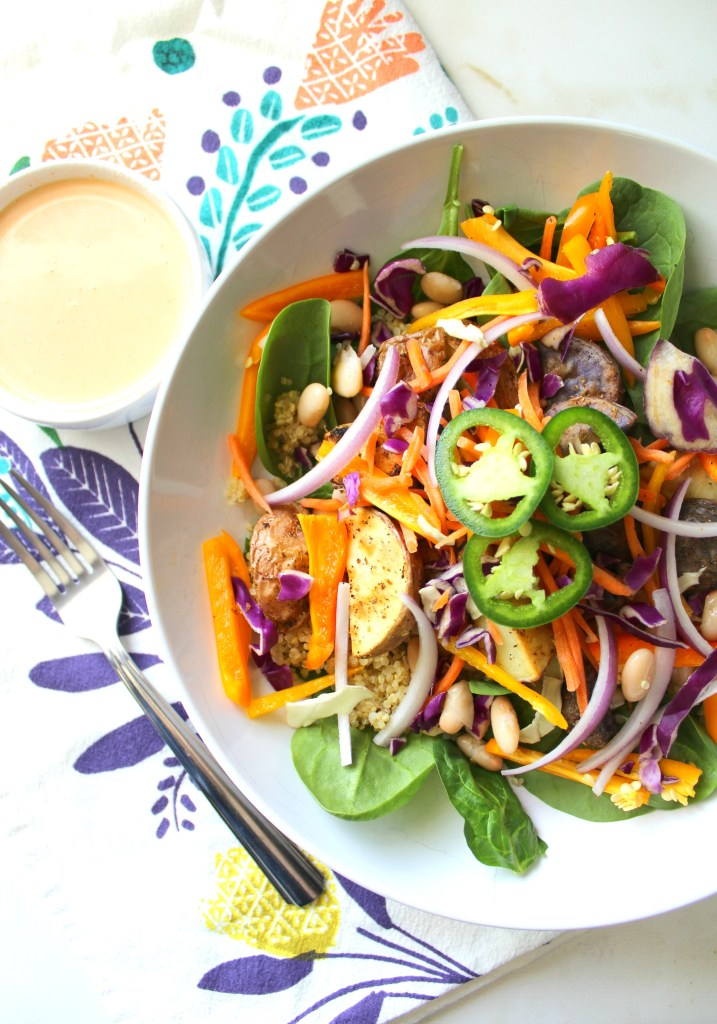 Rainbow Buddha Bowl with Tahini Dressing | VEGAN + GF | ThisSavoryVegan.com