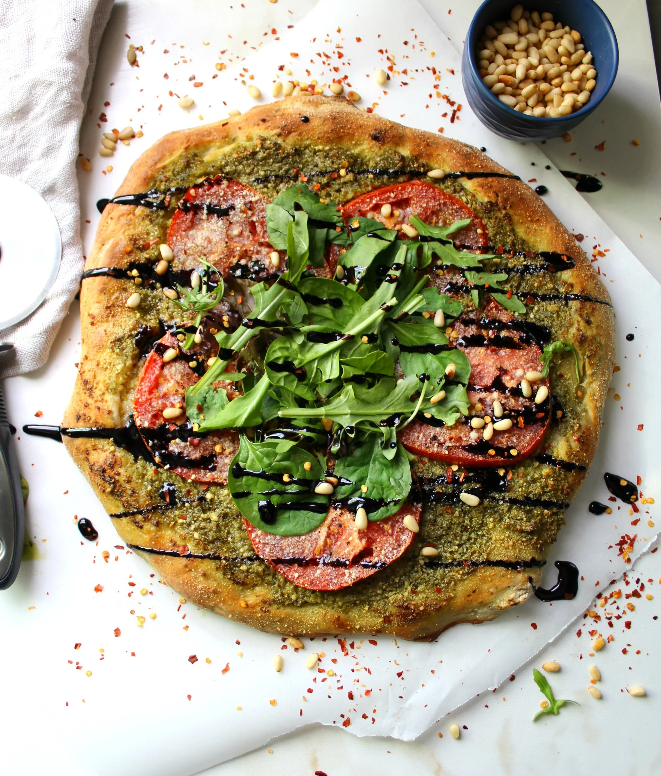 Vegan Pesto Pizza With Balsamic Glaze This Savory Vegan