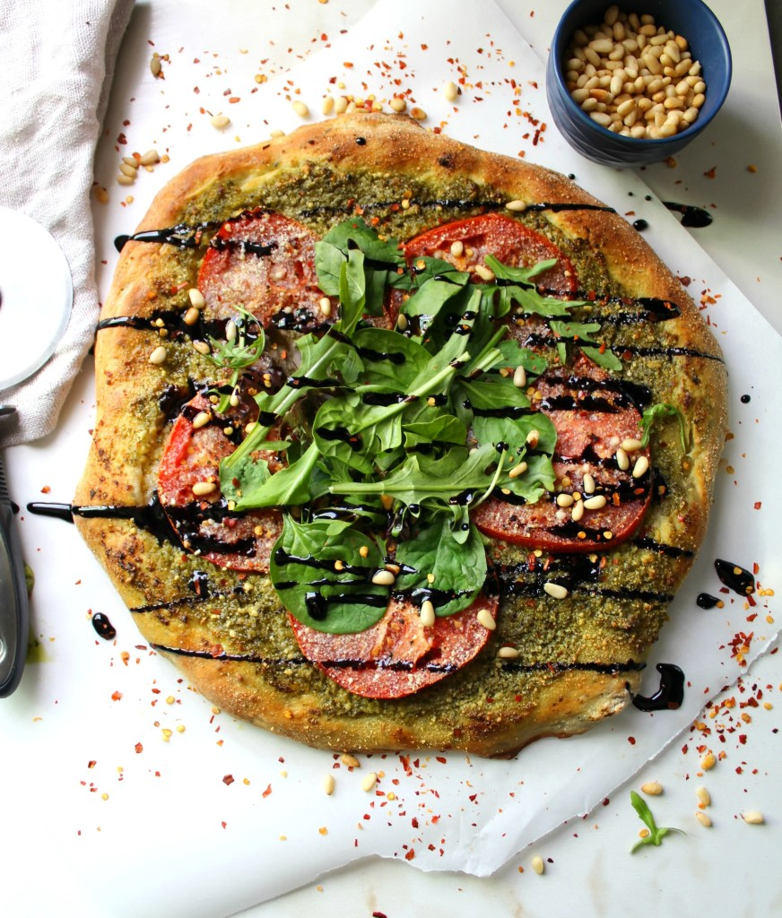 Vegan Pesto Pizza with Balsamic Glaze | ThisSavoryVegan.com