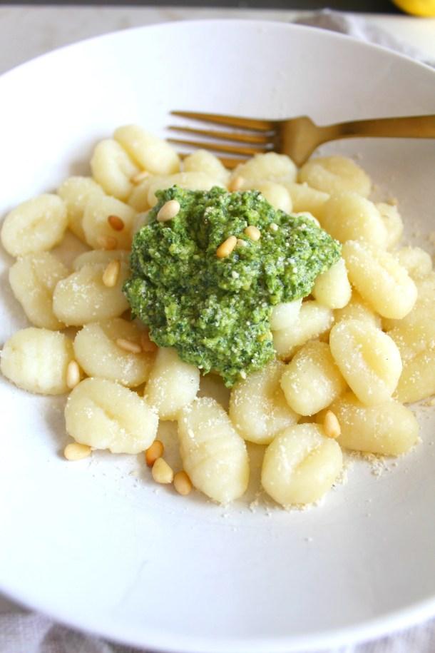 Simple Vegan Pesto Gnocchi | ThisSavoryVegan.com