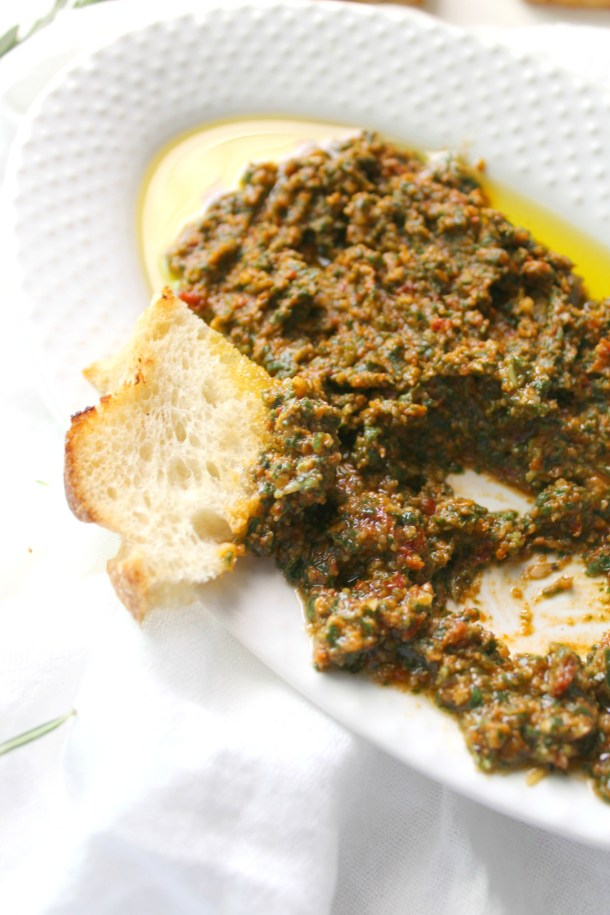 This Simple Vegan Mediterranean Spread is filled with fresh herbs and sun-dried tomatoes and can be served on sandwiches, as a dip or even with pasta   ThisSavoryVegan.com