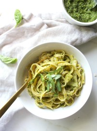 Both savory and healthy this Vegan Shaved Asparagus Pesto Pasta is the ultimate spring dinner and only takes 20 minutes to put together | ThisSavoryVegan.com