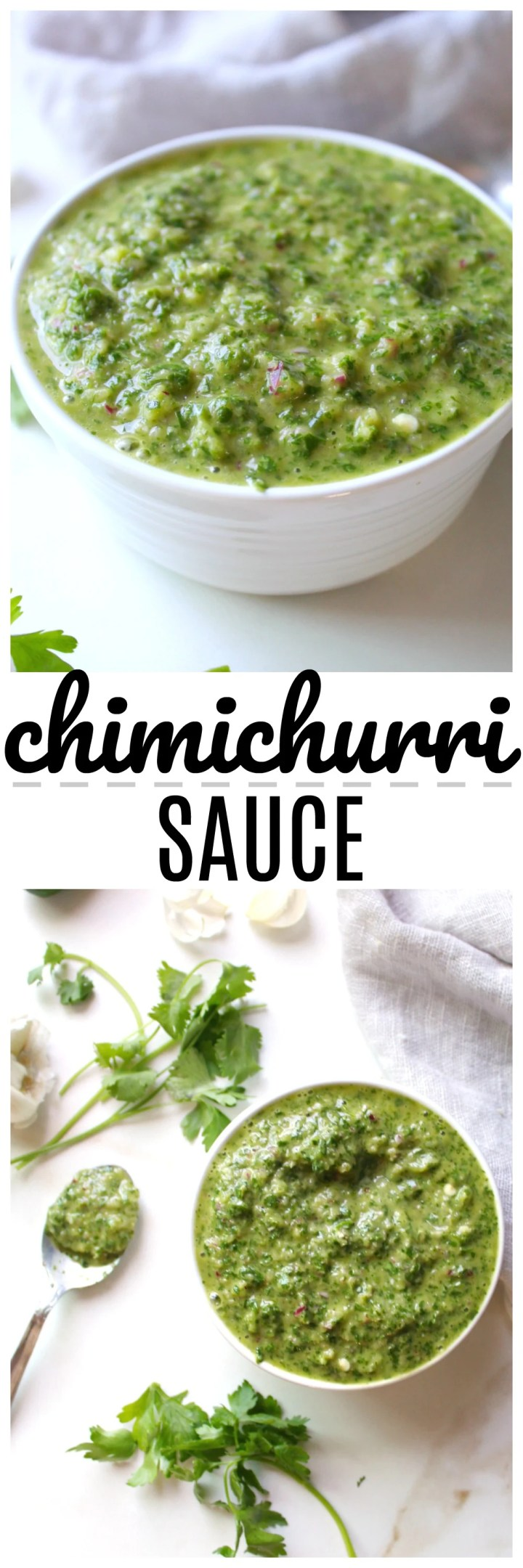 Increase the flavor of any meal with this super simple Chimichurri Sauce - made with fresh cilantro, parsley, garlic and red onion | ThisSavoryVegan.com