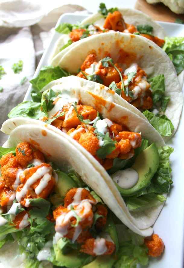 Vegan Buffalo Cauliflower Tacos- ThisSavoryVegan.com