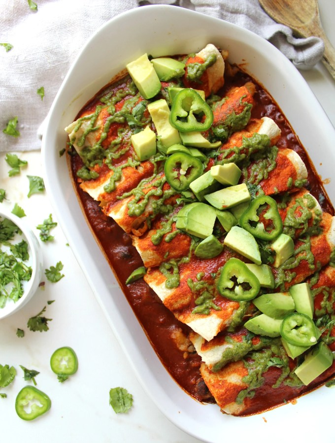 Black Bean Potato Vegan Enchiladas with Avocado Cilantro Sauce