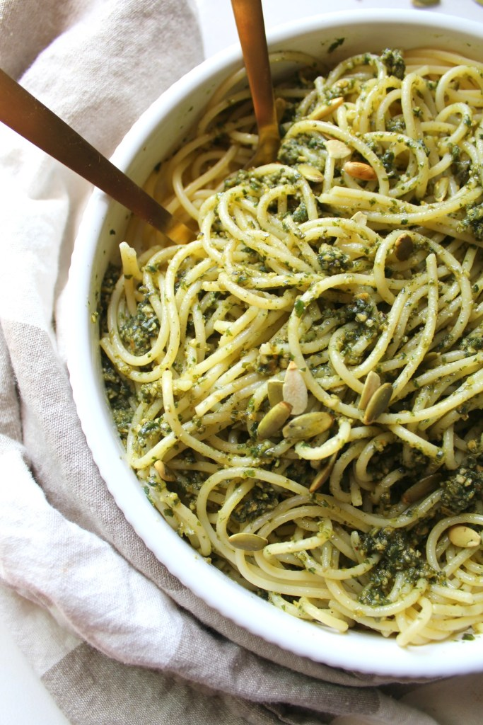 This Vegan Pumpkin Seed Pesto Pasta is the perfect Fall meal - fresh basil is combined with pumpkin seeds, garlic & olive oil for an easy 15 minute dinner! | ThisSavoryVegan.com #vegan #veganpasta