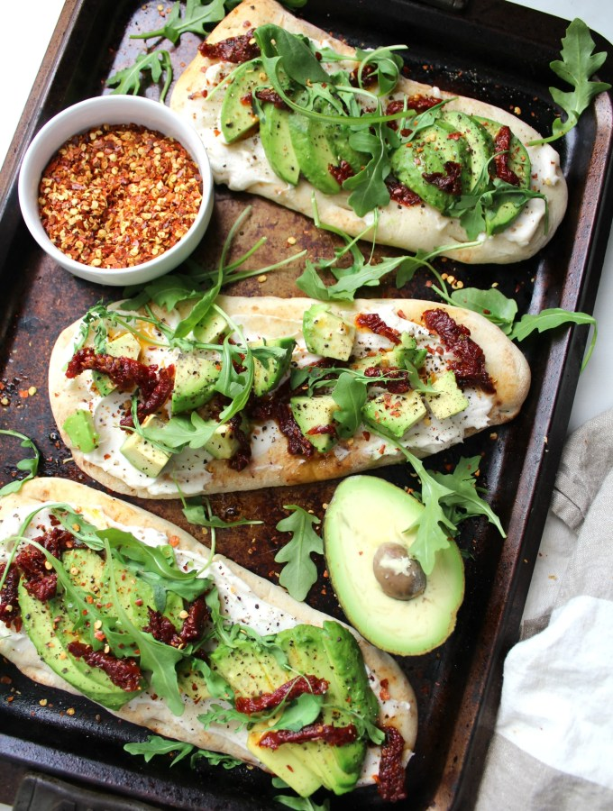 Vegan Cream Cheese Avocado Flatbreads