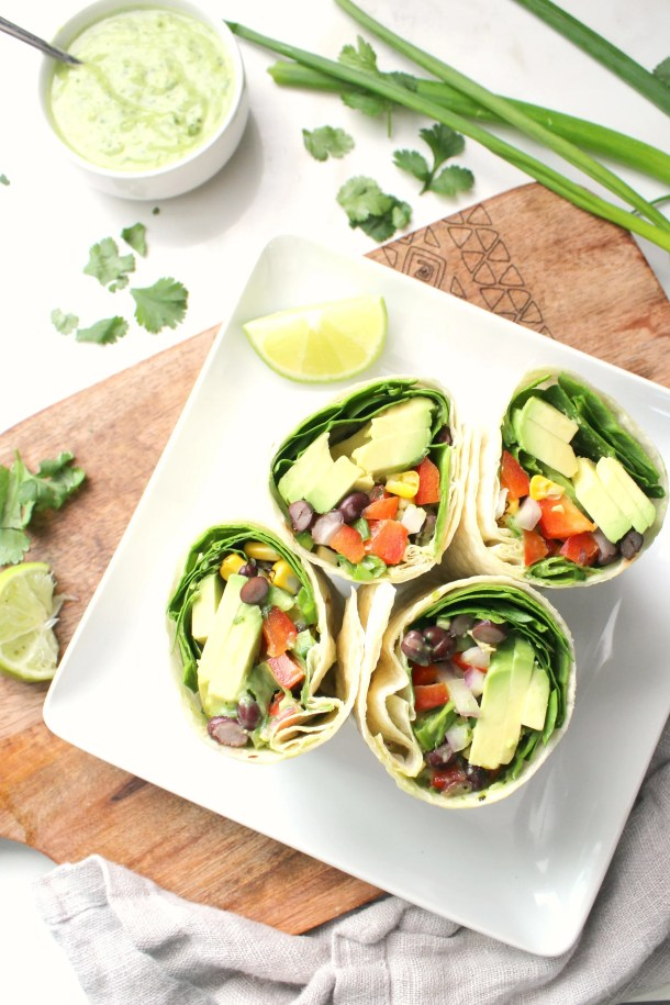 Quick, healthy and filling - these Vegan Mexican Salad Wraps with Creamy Avocado Dressing are a great make ahead lunch, quick dinner or simple snack | ThisSavoryVegan.com #vegan #plantbased #veganrecipe