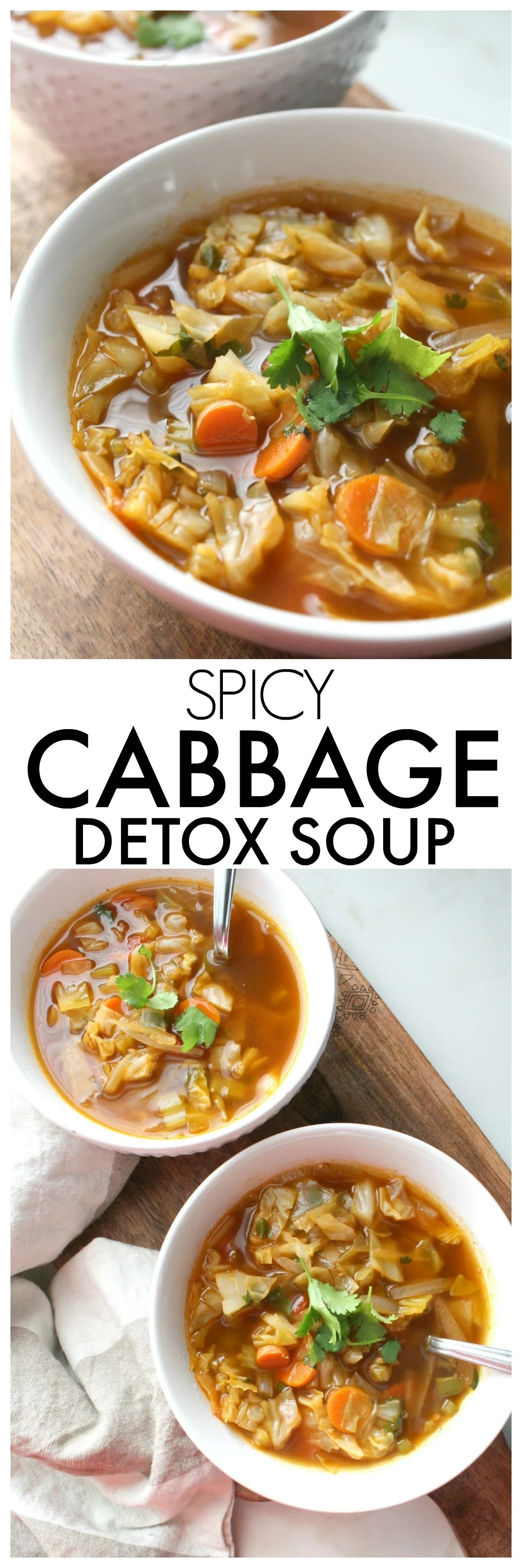 Perfect for those cold winter days, thisSpicy Cabbage Detox Soup is packed full of veggies, spices and a delicious vegan beef broth | ThisSavoryVegan.com #vegan #vegansoup