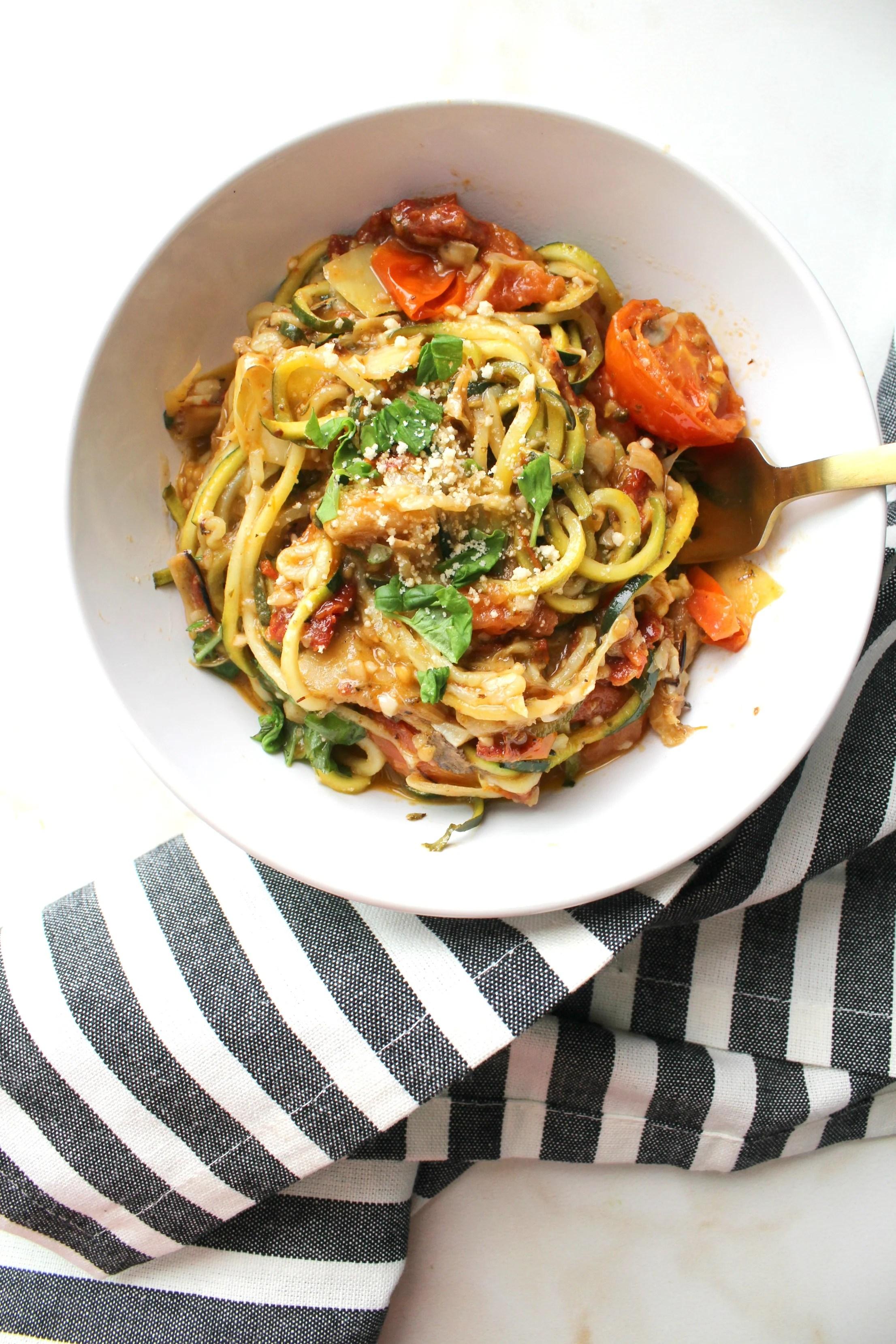 Mediterranean Zucchini Noodles This Savory Vegan
