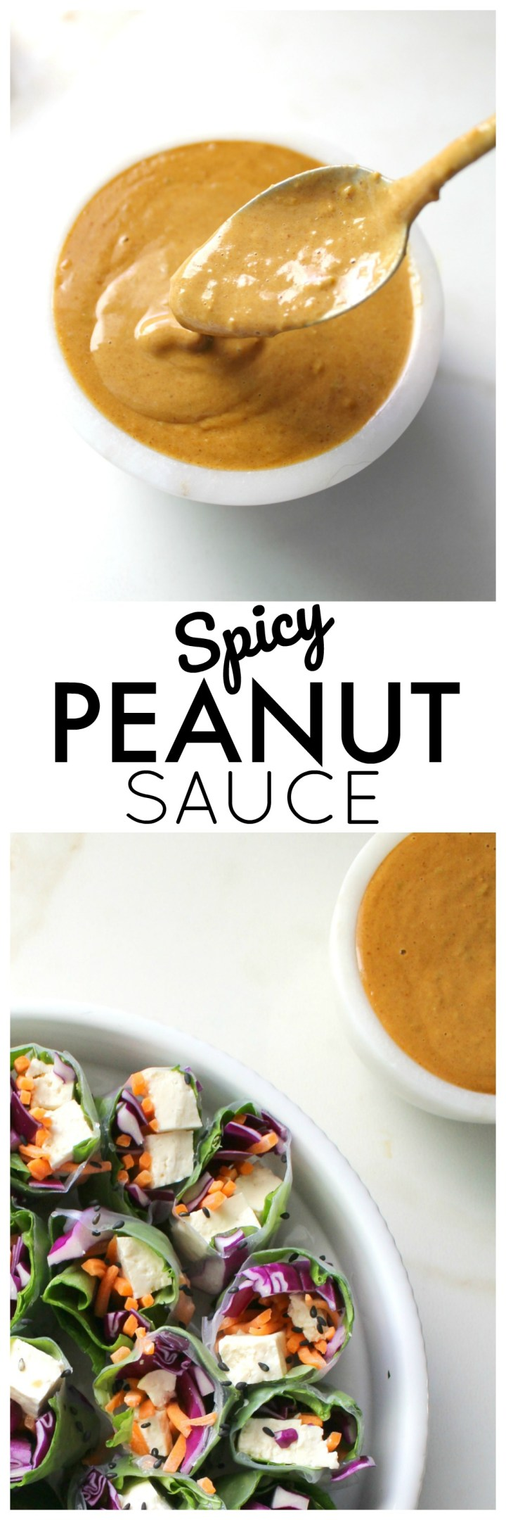The perfect dip or dressing for salads, spring rolls or rice paper rolls - this Spicy Peanut Sauce is a delicious blend of flavors that is finger licking good | ThisSavoryVegan.com #vegan #peanutsauce #dressing