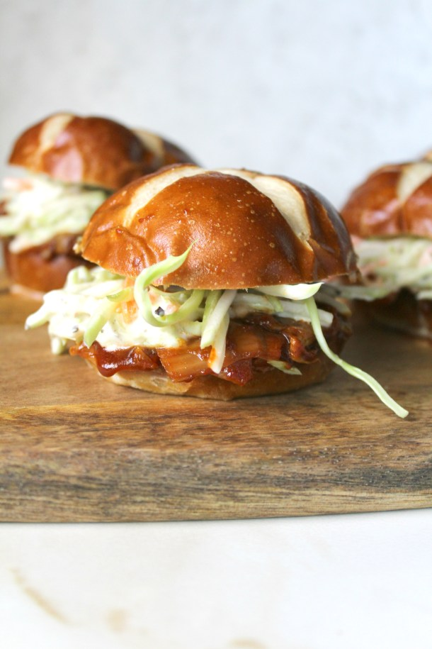 "These Pulled Artichoke BBQ Sliders are the perfect summer burger. Artichokes have a ""meaty"" texture that when combined with BBQ sauce is truly mouth watering 