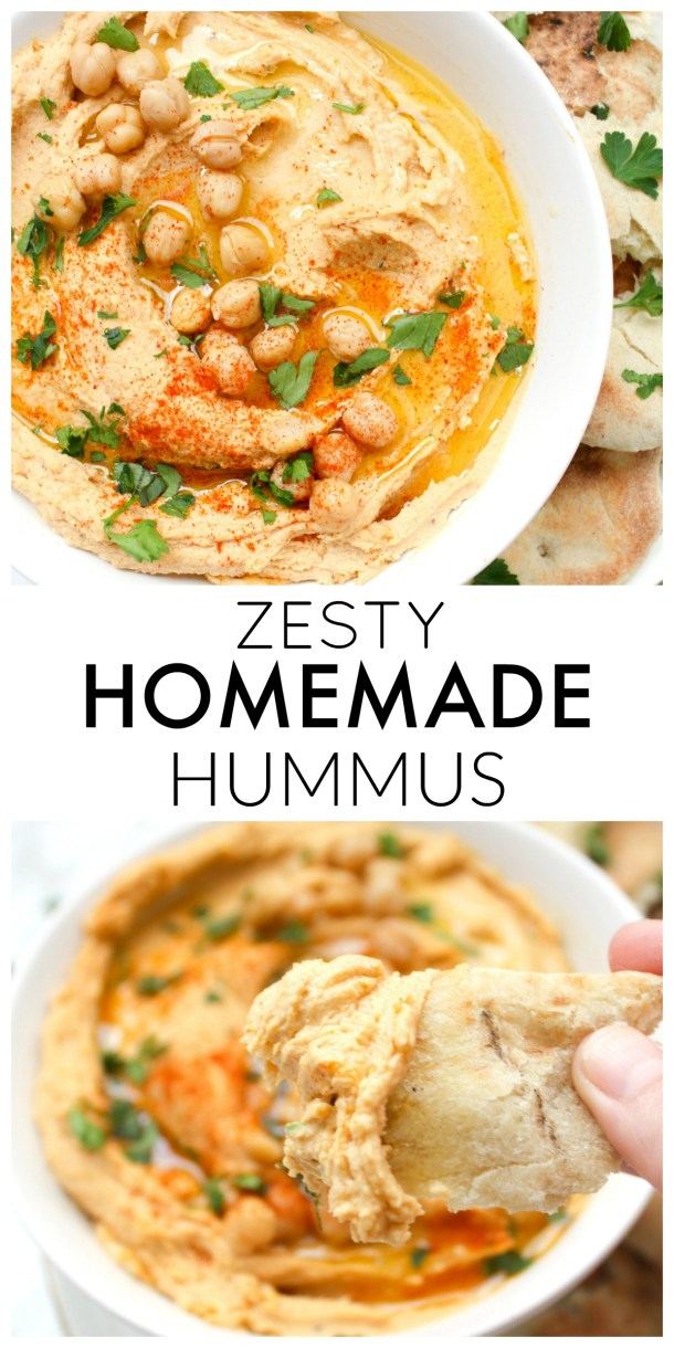 This Zesty Homemade Hummus is a simple recipe that packs a kick. Making hummus at home only requires a few ingredients and 15 minutes! | ThisSavoryVegan.com #thissavoryvegan #hummus