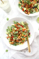 These Cauliflower Taco Bowls with Creamy Vegan Cilantro Ranch are filled with brown rice, bell peppers, onion & beans. A healthy & tasty vegan dinner | ThisSavoryVegan.com #thissavoryvegan #vegan #tacobowl