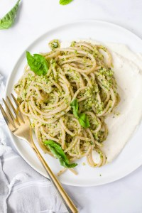 This Vegan Broccoli Pesto Pasta With Whipped Tofu Ricotta is filled with a chunky, healthy pesto and creamy vegan ricotta. A comforting and bright meal | ThisSavoryVegan.com #thissavoryvegan #vegan #veganpasta