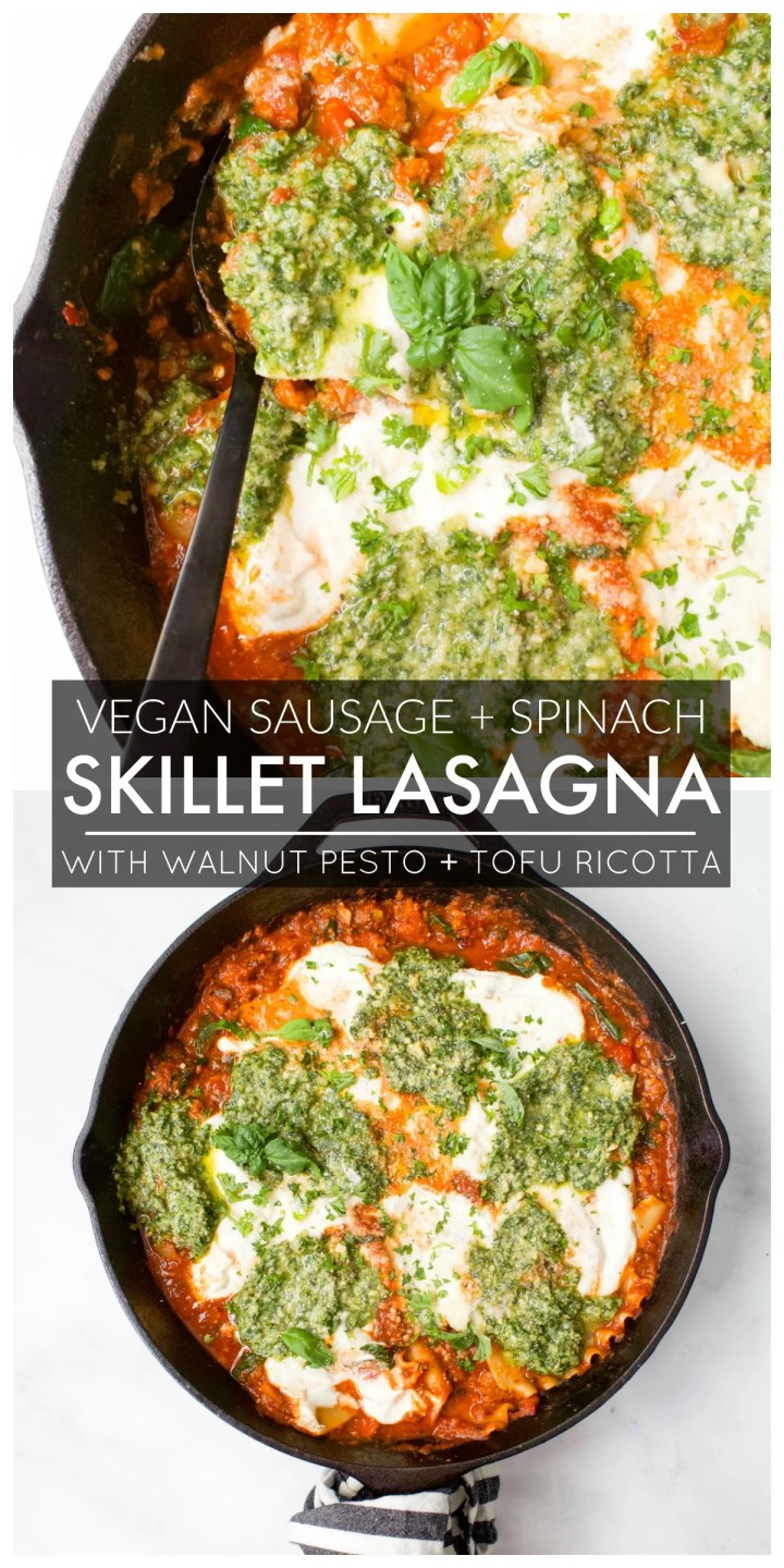 This Vegan Sausage & Spinach Skillet Lasagna is filled with tofu ricotta, fresh pesto and spicy vegan sausage. So freaking tasty! | ThisSavoryVegan.com #thissavoryvegan #veganlasagna #vegan