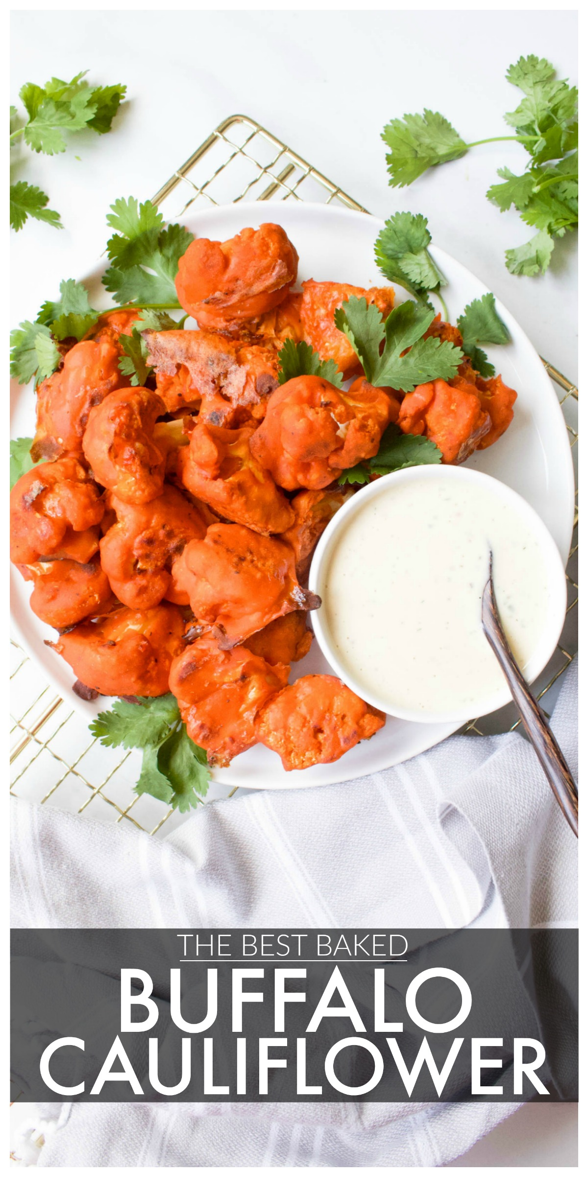 Flavored from the inside out and perfectly crispy, this really is The Best Baked Buffalo Cauliflower out there. Served with vegan ranch!   ThisSavoryVegan.com #thissavoryvegan #buffalocauliflower #vegan