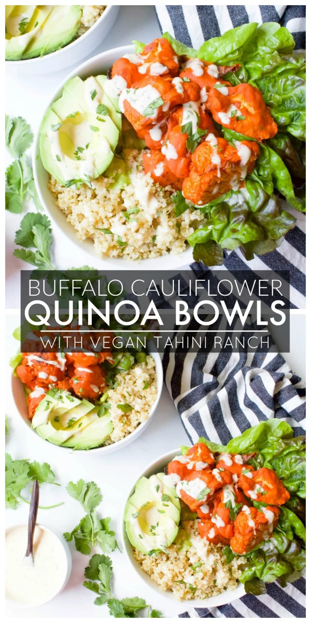 These Buffalo Cauliflower Quinoa Bowls with Vegan Tahini Ranch are the perfect healthy lunch or dinner. Great meal prep idea for busy weekdays   ThisSavoryVegan.com #thissavoryvegan #vegan #buffalocauliflower