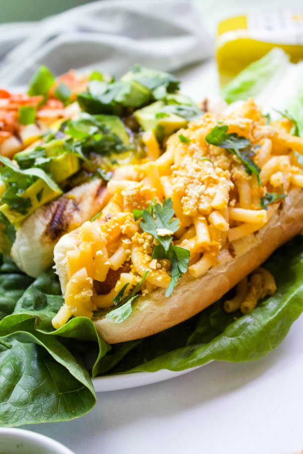 Vegan Hot Dogs 3 Ways - whether you like your hot dog with vegan mac & cheese, spicy relish & avocado, or sriracha mayo, there's a dog for you | ThisSavoryVegan.com #thissavoryvegan #vegan #veganbbq