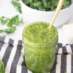 Bright, fresh and flavor-packed, this Vegan Kale Pesto can be used over pasta, in salads or on pizzas. A healthy and delicious sauce | ThisSavoryVegan.com #thissavoryvegan #vegan #pesto