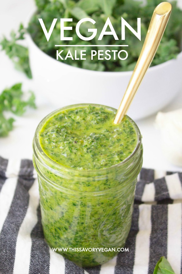 Bright, fresh and flavor-packed, this Vegan Kale Pesto can be used over pasta, in salads or on pizzas. A healthy and delicious sauce   ThisSavoryVegan.com #thissavoryvegan #vegan #pesto