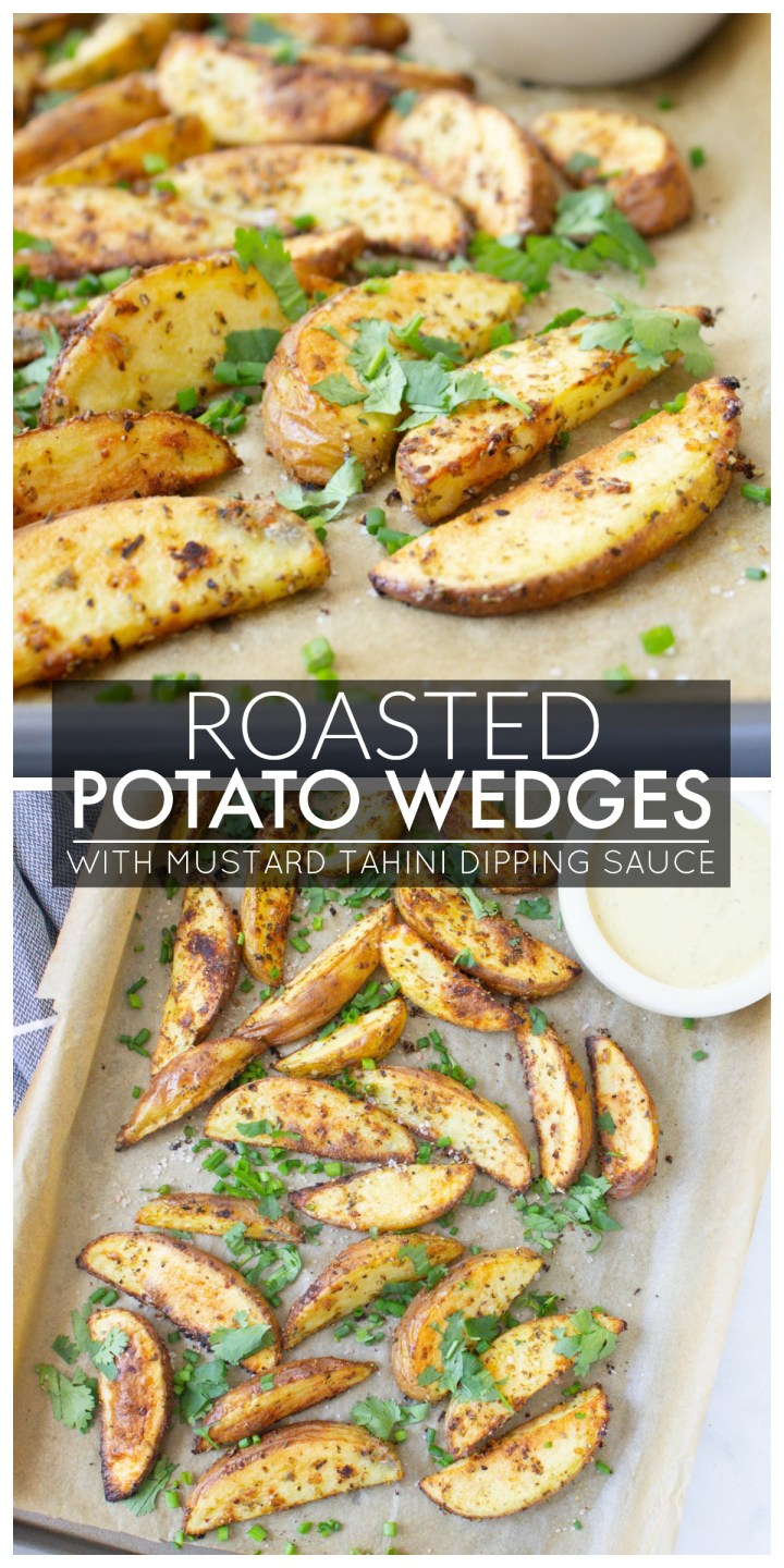 These Roasted Potato Wedges with Mustard Tahini Dipping Sauce are the best snack or appetizer. Made with loads of garlic and fresh herbs   ThisSavoryVegan.com #thissavoryvegan #vegan #potatowedges