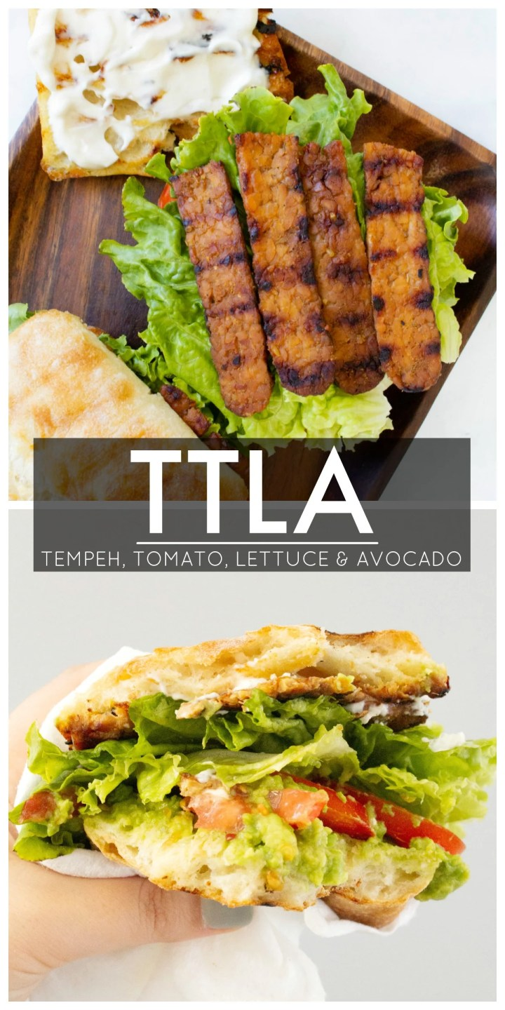 This TTLA Sandwich (aka the vegan BLT) is loaded with Tempeh bacon, Tomato, Lettuce & Avocado. One of the BEST sandwiches EVER | ThisSavoryVegan.com #thissavoryvegan #vegan #ttla
